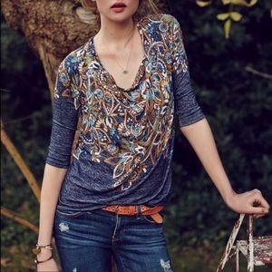 Anthro Postmark | Jacaranda Floral Cowl Neck Top